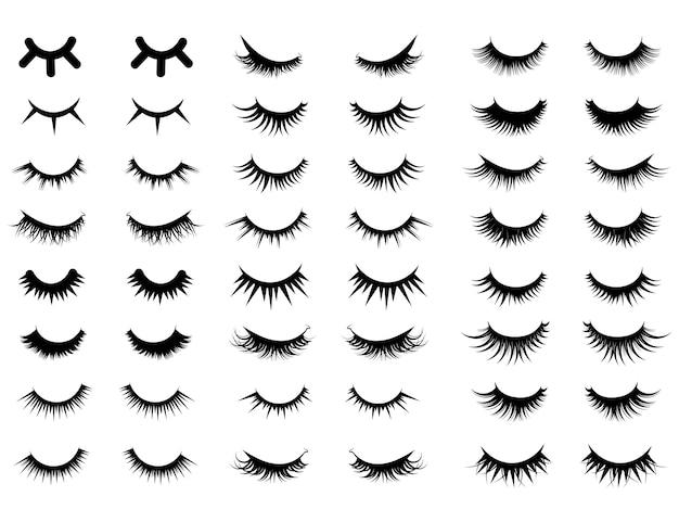 Aantal vrouwelijke wimpers. verzameling van valse wimpers. illustratie van gesloten ogen