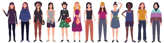 Aantal vrouwen gekleed in trendy vrijetijdskleding