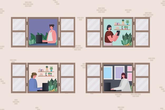 Aantal vrouwen met laptop die werken bij raamontwerp van het thema werk vanuit huis