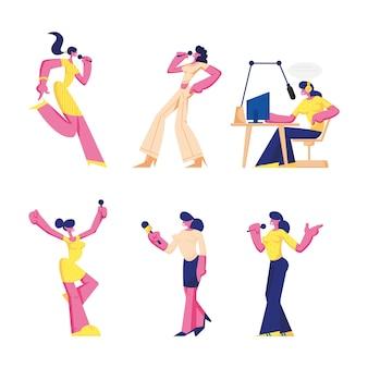 Aantal vrouwen met microfoons, vrouwelijke personages zingen in karaokebar, radioprogramma-uitzendingen, journalist nemen interview, meisjes geïsoleerd op een witte achtergrond.