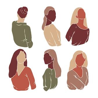 Aantal vrouwensilhouetten in moderne minimalistische stijl. abstracte vrouwelijke portretten. moderne handgetekende illustraties. plat ontwerp.