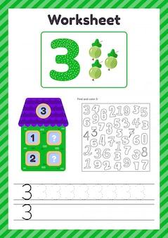 Aantal werkbladen voor kinderen. bes. huis. nummer obligaties. traceerlijn. de studie van wiskunde voor kinderen van de kleuterschool, voorschoolse leeftijd. drie. 3