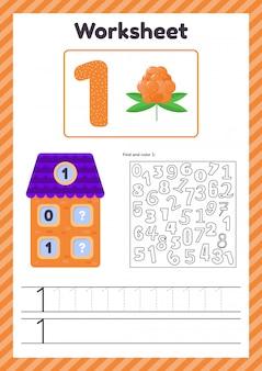 Aantal werkbladen voor kinderen. bes. huis. nummer obligaties. traceerlijn. de studie van wiskunde voor kinderen van de kleuterschool, voorschoolse leeftijd. een. 1