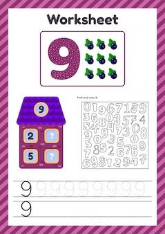Aantal werkbladen voor kinderen. huis. nummer obligaties. traceerlijn. de studie van wiskunde voor kinderen van de kleuterschool, voorschoolse leeftijd. negen. 9.