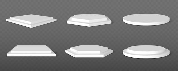 Aantal witte podia. sokkelplatform of showroomstandaard. wit studio podiumplatform