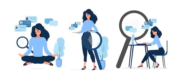 Aantal zakelijke meisjes. het meisje werkt op een laptop. vlakke stijl. goed voor imago werk, kantoor, personeel in dienst nemen. .