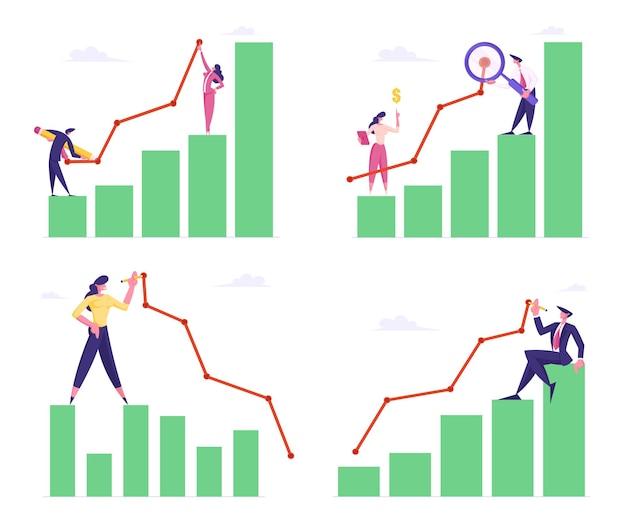 Aantal zakenlieden en -vrouwen staan op kolomdiagram curve lijn tekenen