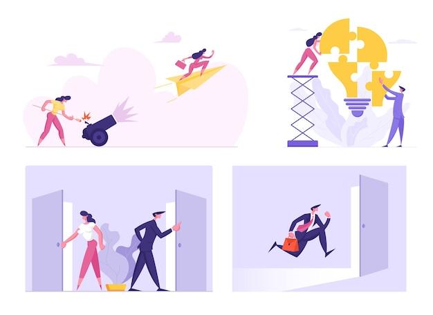 Aantal zakenlieden en zakenvrouwen tekens puzzel gloeilamp instellen