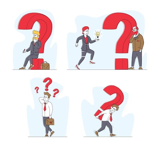 Aantal zakenmensen en enorme vraagtekens. mannelijke vrouwelijke personages denken, oplossing of besluit zoeken