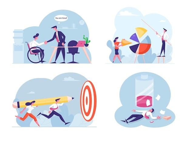 Aantal zakenmensen gooien enorme potlood naar doel, gehandicapte man ingehuurd in kantoor