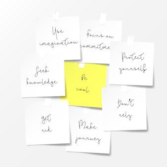 Aantekeningen op papier. motivaties notities concept.