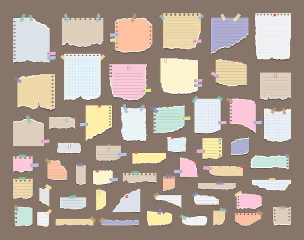 Aantekeningen op papier op stickers
