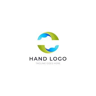 Aantrekkelijk gradiënthand vector logo-ontwerp premium sjabloon