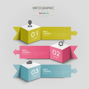 Aantrekkelijk infographic ontwerp met 3d kubussen en pijlenelementen