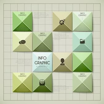 Aantrekkelijk infographic ontwerp met glanzende metalen elementen