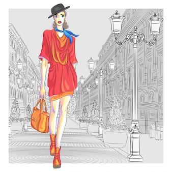 Aantrekkelijk mode-meisje in hoed met tas in schetsstijl gaat voor st. petersburg