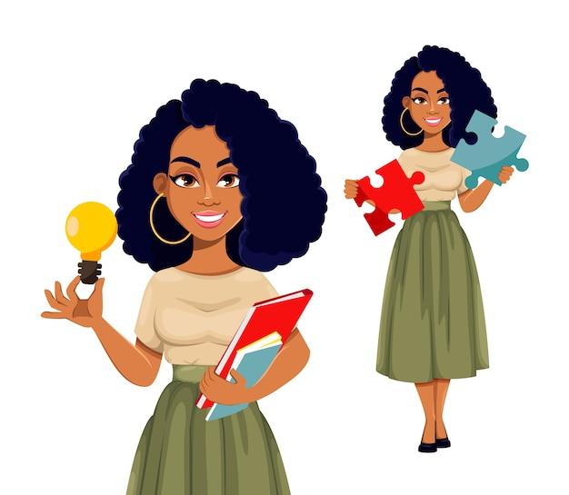 Aantrekkelijke afrikaanse amerikaanse bedrijfsvrouw