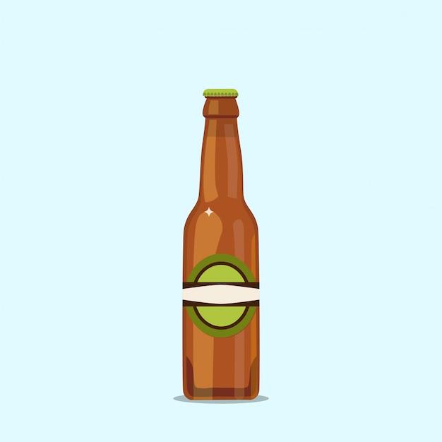 Aantrekkelijke bierfles op een blauwe achtergrond