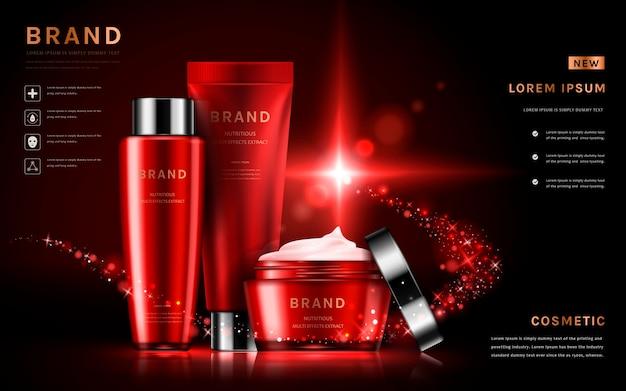 Aantrekkelijke cosmetische set-advertenties met huidverzorgingssets voor verpakkingen