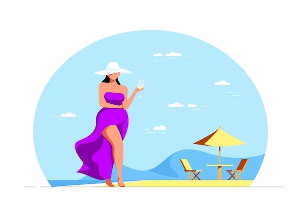 Aantrekkelijke elegante plus size vrouw wandelen op het strand met een glas wijn. zomervakantie. vlakke stijl illustratie