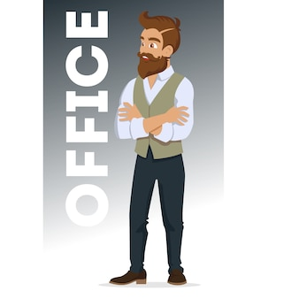 Aantrekkelijke jonge mannen in modieuze kleding. jonge hipster. schattige cartoon man. succesvolle jonge mensen. illustratie op de witte achtergrond.