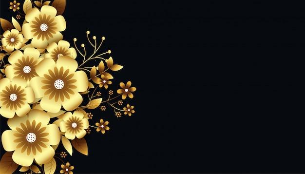 Aantrekkelijke luxueuze gouden 3d bloemenachtergrond
