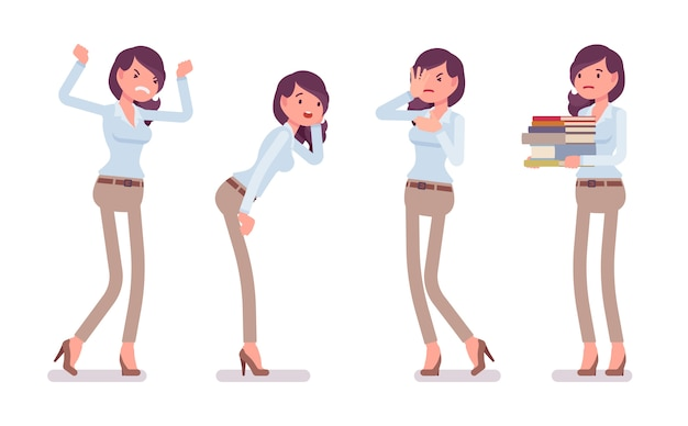 Aantrekkelijke ongelukkige jonge vrouw in dichtgeknoopt overhemd en kameel magere chinobroek, negatieve emoties. zakelijke stijlvolle werkkledingtrend en kantoorstadsmode. stijl cartoon illustratie