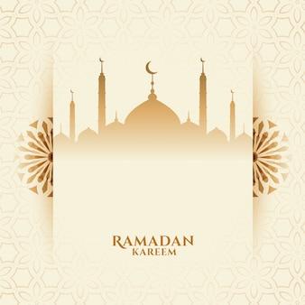 Aantrekkelijke ramadan kareem festivalachtergrond met moskee