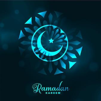 Aantrekkelijke ramadan kareem gloeiende maanachtergrond