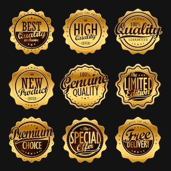 Aantrekkelijke verzameling gouden labels voor gebruik in de detailhandel