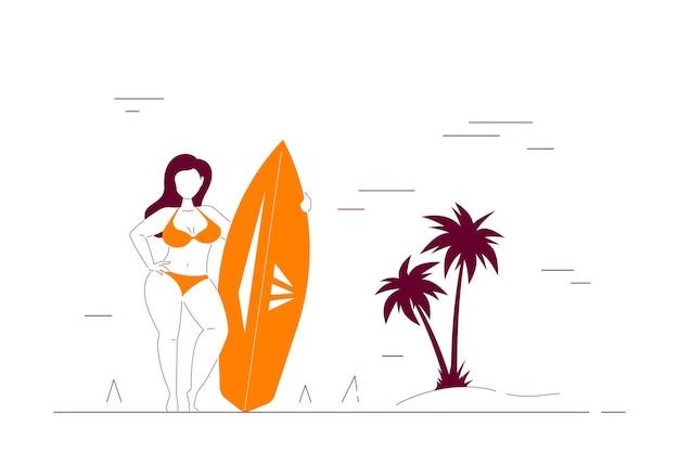 Aantrekkelijke vrouw plus grootte die op strand een surfplank houdt. zomer vrouwelijk lichaam positief concept. vlakke stijl lijntekeningen illustratie.