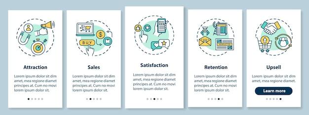 Aantrekking en retentie van klanten aan boord van mobiele app-paginascherm met concepten. e-commerce tips walkthrough 5 stappen grafische instructies. ui-vectorsjabloon met rgb-kleurenillustraties