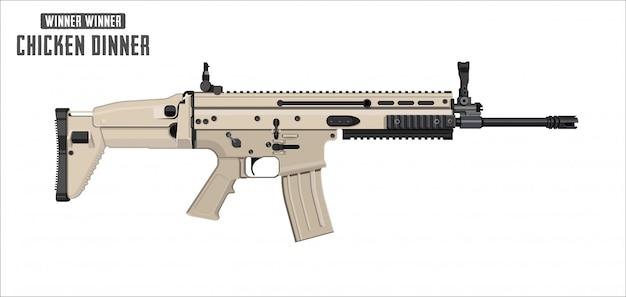Aanvalsgeweervector op witte achtergrond wordt geïsoleerd - aanvalsgeweerwapen. spel vectorillustratie.