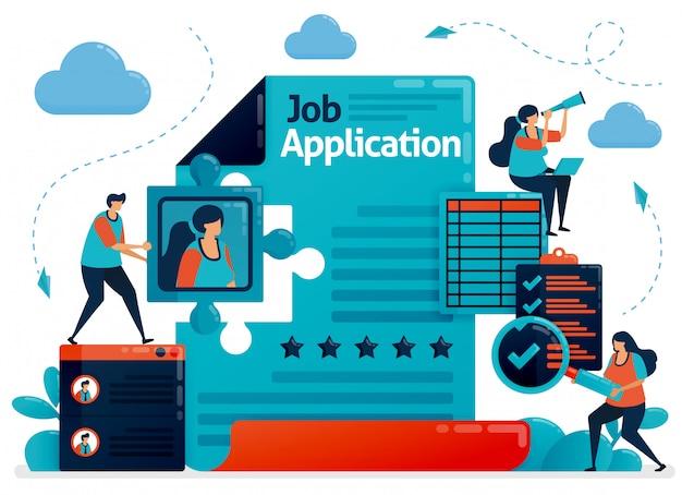 Aanvraagformulier voor het accepteren van nieuwe medewerkers concept illustratie