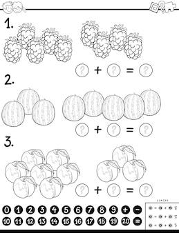 Aanvullend educatief spel kleurenboek met fruit