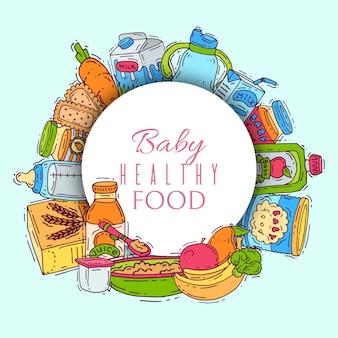 Aanvullend voedsel voor baby's vector illustratie. zuigflessen, puree potten, fruit en groenten achter witte cirkel met inscriptie baby gezond voedsel.