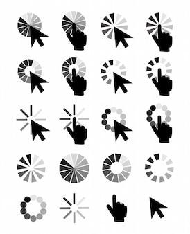 Aanwijzer cursors pictogrammen: muis hand pijl. computeraanwijzers, internet cursor klik.
