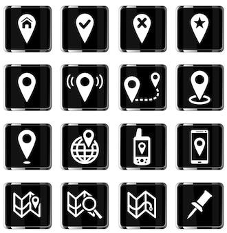 Aanwijzer en kaarten gewoon vector icon set
