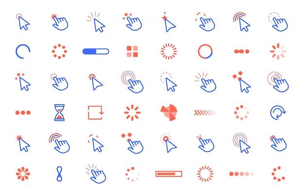Aanwijzer klik op het pictogram. web klikt aanwijzercursor, computerapp-interface statische en dynamische laadcursors. internet cirkel tools set