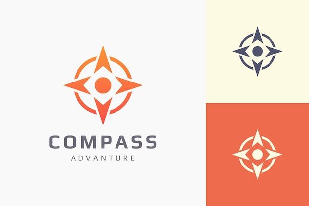 Aanwijzer of richting logo sjabloon in eenvoudige en moderne kompasvorm Premium Vector