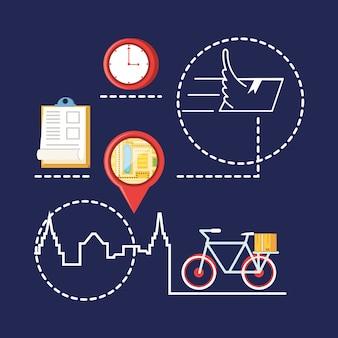 Aanwijzerlocatie met logistieke serviceobjecten