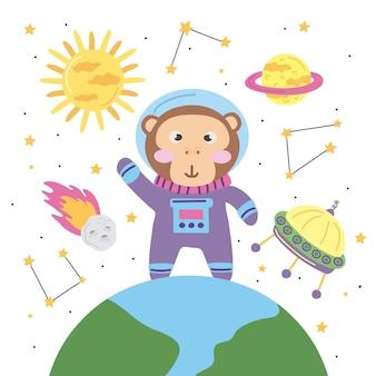 Aap astronaut en ruimte pictogrammen