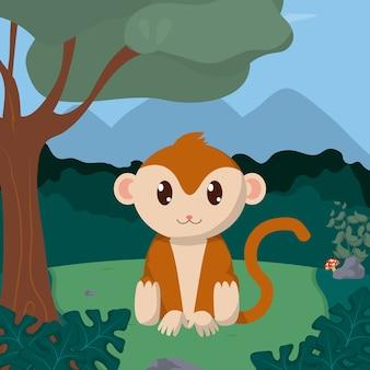 Aap bij bos schattige dieren cartoons