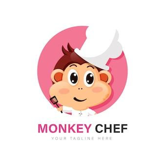 Aap chef-kok logo ontwerp