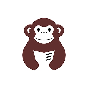 Aap chimpansee boek lezen krant negatieve ruimte logo vector pictogram illustratie