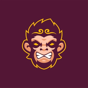 Aap dierenkop cartoon logo sjabloon illustratie esport logo gaming premium vector