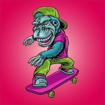 Aap en skateboard