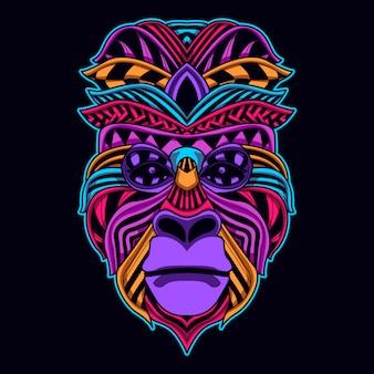 Aap gezicht in gloeiende neonkleur