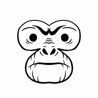Aap head logo tattoo design stencil vectorillustratie
