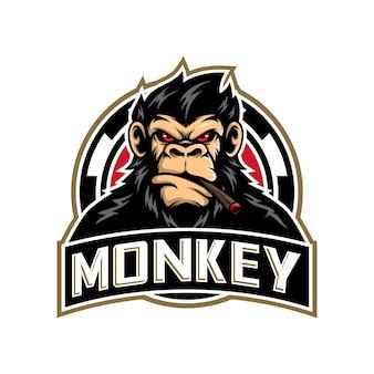 Aap hoofd mascotte logo ontwerp vectorillustratie